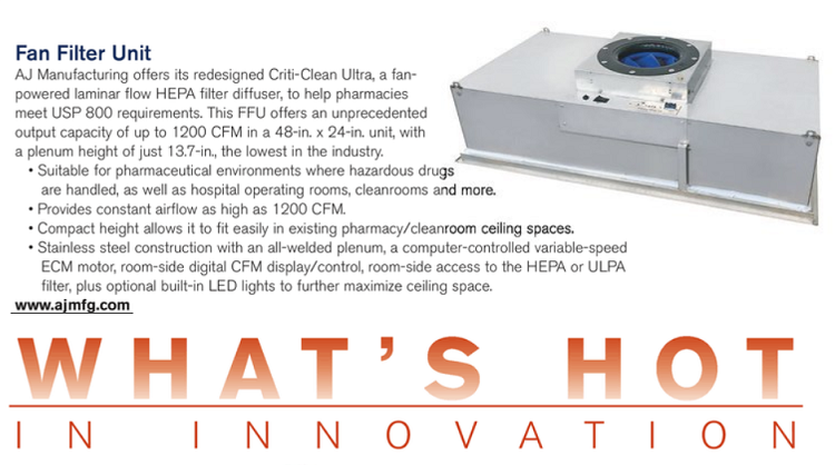 "A-J Manufacturing was featured in the ""What's Hot in Innovation"" section of Pharmaceutical Processing/Controlled Environments digital magazine. The piece focuses on A-J Manufacturing's Fan Filter Unit."